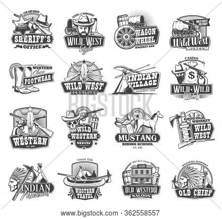 Wild West Vector Icons, American Western Saloon And Cowboy Symbols. Texas Western Saloon, Indian Vil