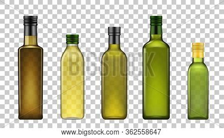 Olive Oil Bottles, Vector Realistic 3d Model Blank Mockup Templates. Extra Virgin Olive Or Sunflower