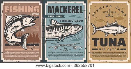 Fishing Camp Club And Fisher Equipment Store Vector Vintage Retro Posters. Fishing Rods And Lures Ho