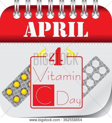 Calendar With Perforation For Changing Dates - April Vitamin C Day