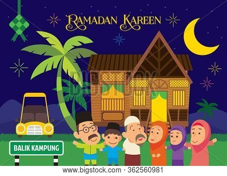 Ramadan Kareem And Eid Al-fitr. Happy Muslim Family Celebrating Hari Raya Aidilfitri In Village Afte