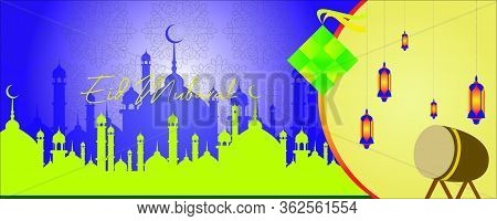Eid Al-fitr Backgrounds With Mosque, Diamond And Lantern Icons, Background Illustrations For Design,
