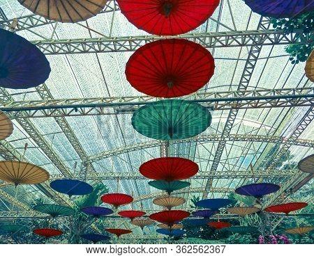 Flower Festival Decoration With Umbrellas Travel, Umbrella, Umbrella Decoration