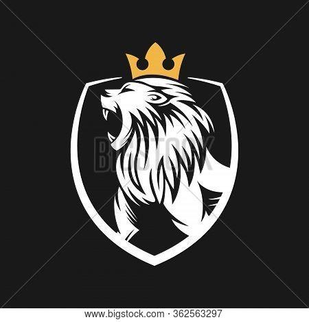 Lion. Lion vector. Lion logo. Lion Logo vector. Lion Head logo. Lion icon vector. Lion icon. Lion Shield Logo. Lion vector icon. Lion King Logo. Luxury Lion Logo. Lion Emblem Logo. Lion Crest Logo vector isolated flat on black background.