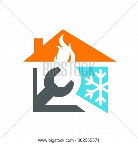 Combination Of Fire Roof Wrench And Snow Flakes Icon For Hvac Logo Design Vector Business Company