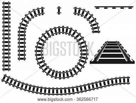Railroad, Railroad Icon, Black Railroad Isolated On White Background. Vector Illustration. Vector.