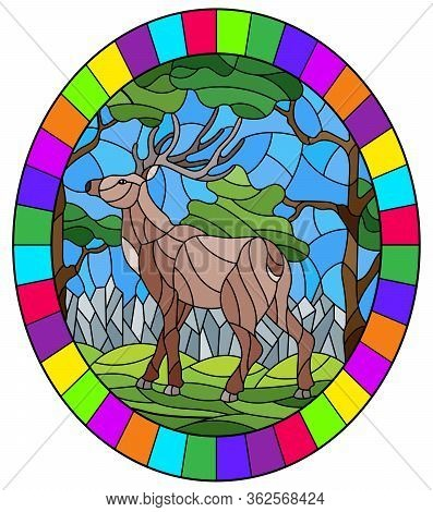 Illustration In Stained Glass Style With Wild Deer On The Background Of Trees, Mountains And Sky, Ov