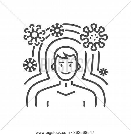 Immunity Related Vector Thin Line Icon. Man Protected From Virus Immunity. Isolated On White Backgro