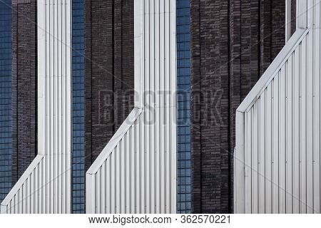 Abstract Architecture Wall Fragment Of Modern Urban Geometry. Business Building.