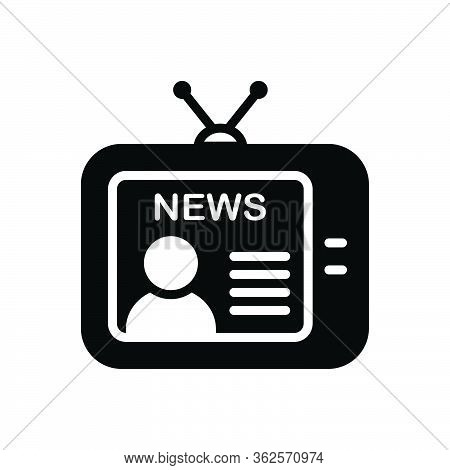 Black Solid Icon For News Broadcast Newsreader Tv Television