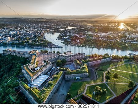Aerial View Of Ehrenbreitstein Fortress And Koblenz City In Germany During Sunset