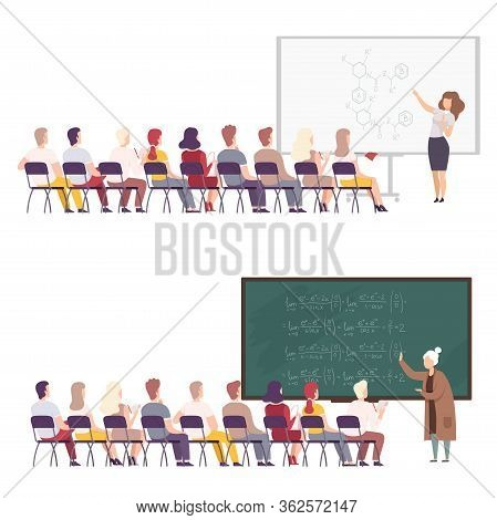 Professors Giving Task, Explaining Seminar, Lecture To Students Sitting In Classroom Set, University