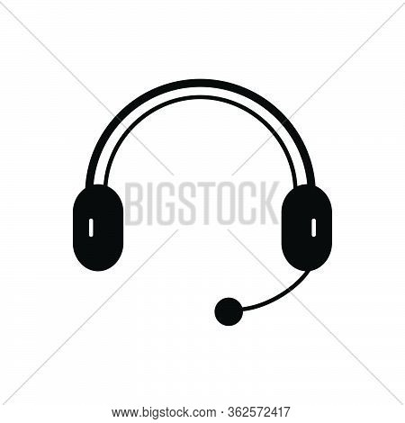 Black Solid Icon For Headphone Earphone Mike Support