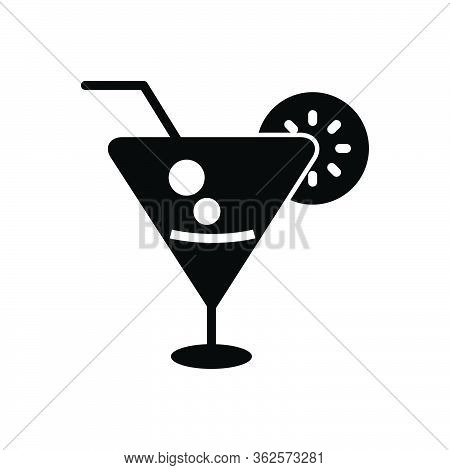 Black Solid Icon For Beverage Cocktail Lime Kamikaze Beverage Liqueur