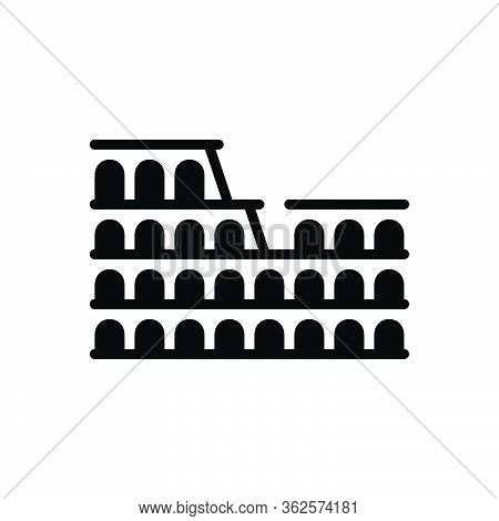 Black Solid Icon For Colosseum-of-rome Theater Wonder-of-the-world Italy Landmark