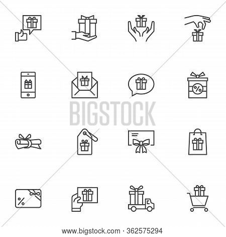 Gifts Line Icons Set, Outline Vector Symbol Collection, Linear Style Pictogram Pack. Signs, Logo Ill