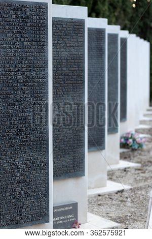 Split,croatia May 2020 Iron Memorials With Names Of Fallen German World War Two Soldiers. Burried In