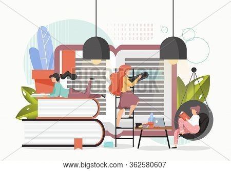 Reading Books Concept Vector Flat Style Design Illustration
