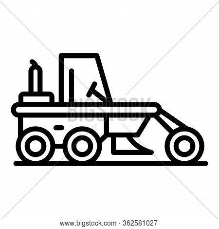 Demolition Grader Machine Icon. Outline Demolition Grader Machine Vector Icon For Web Design Isolate