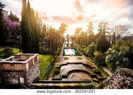 Idyllic Landscape, Gardens And Fountains. Villa D Este, In The City Of Tivoli, Near Rome, Italy. Exa