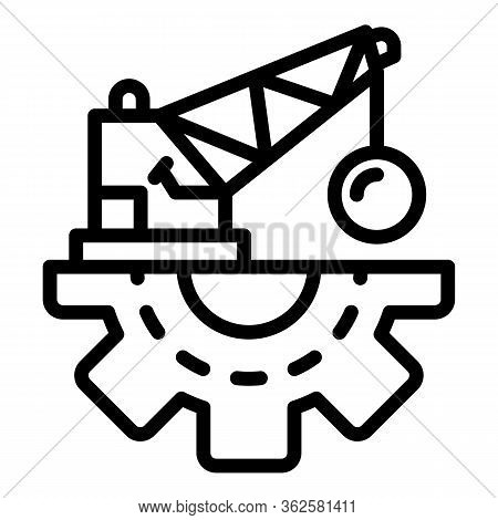 Demolition Crane Icon. Outline Demolition Crane Vector Icon For Web Design Isolated On White Backgro