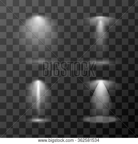 Vector Set Of Scene Light Sources Isolated On Transparent Background. Redial Gradient Stage Spotligh