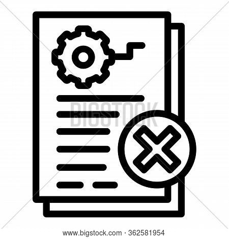 Restricted Demolition Document Icon. Outline Restricted Demolition Document Vector Icon For Web Desi