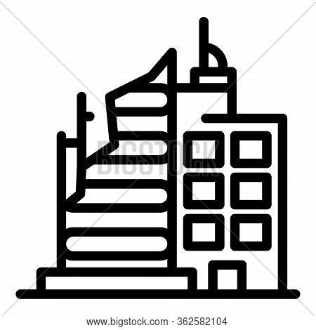 Building Destruction Icon. Outline Building Destruction Vector Icon For Web Design Isolated On White