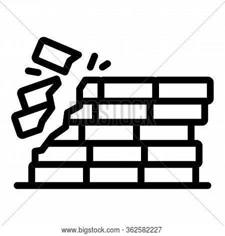 Demolition Brick Wall Icon. Outline Demolition Brick Wall Vector Icon For Web Design Isolated On Whi