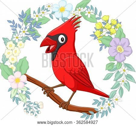 Vector Illustration Of Cartoon Cardinal Bird On Tree Branch With Flowers Background