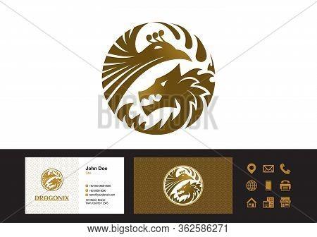 Dragon Phoenix Logo - Business Cards Design Vector