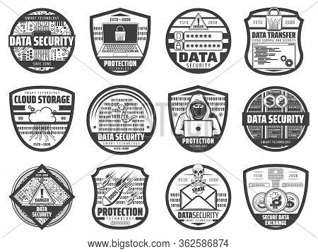 Internet Data Security, Information And Cloud Storage Access Protection, Vector Icons. Secure Bitcoi