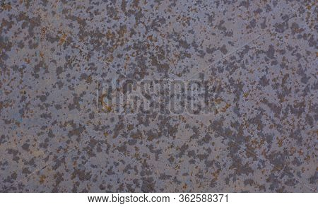 Photo Background, Texture Of Old Rusty Iron, Frayed Peeling Paint. Space For Text