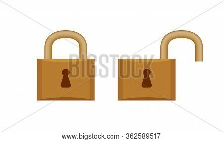Padlock In Locked And Unlocked Isolated On White, Brown Padlock For Clip Art, Key Lock Shape For Ico