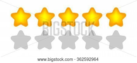 Five Stars Icon Cute Isolated On White Background, Chic 5 Star Shape Yellow Orange, Illustration Sim