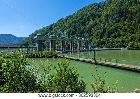 Maribor, Slovenia - August 09, 2019: The Fala Hydro Power Plant. The Hidroelektrarna Fala Started In