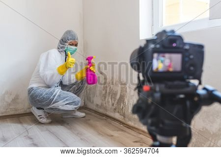 Video Camera Filming How Woman Cleaning Mold From Wall Using Spray Bottle With Mold Remediation Chem