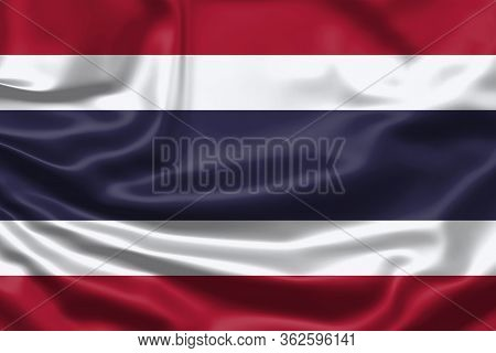 Realistic Flag. Thailand Flag Blowing In The Wind. Background Silk Texture. 3d Illustration.