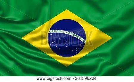 Realistic Flag. Brazil Flag Blowing In The Wind. Background Silk Texture. 3d Illustration.
