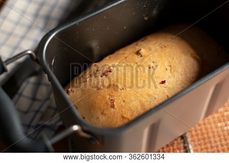 Fresh Baked Cranberry Bread In Loaf Pan