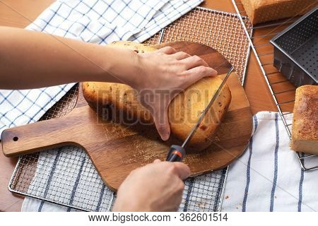 Fresh Baked Cranberry Bread With Woman Hand Over For Slicing