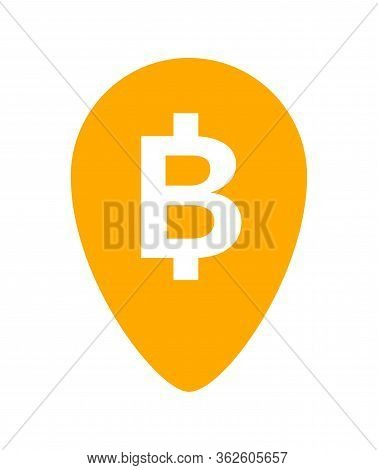 Currency Money Icon In Pin Point Symbol, Thb Coin Thailand For Flat Icon Style, Thai Token Money Bah