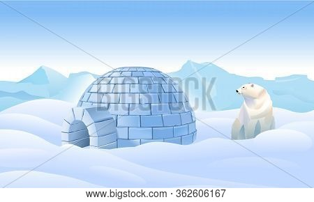 Igloo In The North. Housing In The North. Bear Near The Igloo. Northern Arctic Landscape. Life In Th