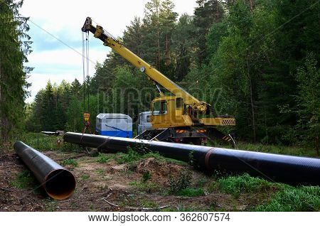 Crane Lowers A Section Of Pipe Into A Trench. Construction Of Gas Pipeline To New Lng Plant. Operati