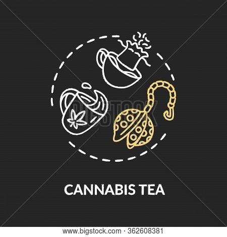 Cannabis Tea Chalk Rgb Color Concept Icon. Marijuana Plant Decoction, Herbal Decoction Idea. Drinkab