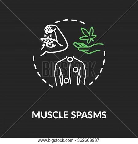 Muscle Spasms Chalk Rgb Color Concept Icon. Medical Marijuana, Good Mmj Side Effect Idea. Cannabis F