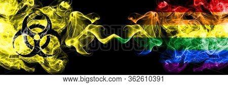 Quarantine In Gay Pride. Coronavirus Covid-19 Lockdown. Smoky Mystic Flag Of Gay Pride With Biohazar