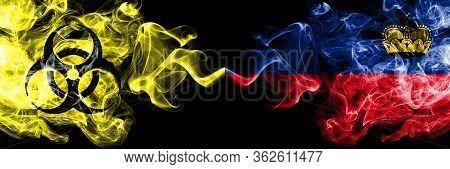 Quarantine In Liechtenstein, Liechtensteins. Coronavirus Covid-19 Lockdown. Smoky Mystic Flag Of Lie
