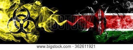 Quarantine In Kenya, Kenyan. Coronavirus Covid-19 Lockdown. Smoky Mystic Flag Of Kenya, Kenyan With