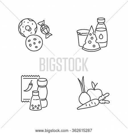 Supermarket Food Pixel Perfect Linear Icons Set. Candy And Cookies. Peper In Pack. Dairy Products. C